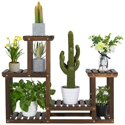 SmileMart 4-Tier 6-Shelf Wooden Flower and Plant Display Stand
