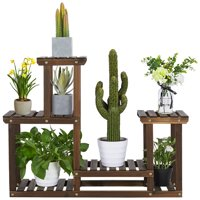 Deals on SmileMart 4 Tier Wood Plant Stand Tiered Flower Display Stand