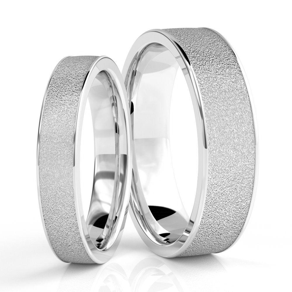 10k White Gold Polished Stone Couples Wedding Rings 4mm, 6mm