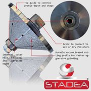 "Stadea Diamond Profile Wheel / Profile Grinding Wheel 45 degree / Bevel 30 MM 1 1/4"" high for Grinder Polisher Tile Granite marble Concrete Shaping/Diamond Profiling"
