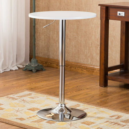 Roundhill Adjustable Height Wood and Chrome Metal Bar Table, Multiple Colors Available ()