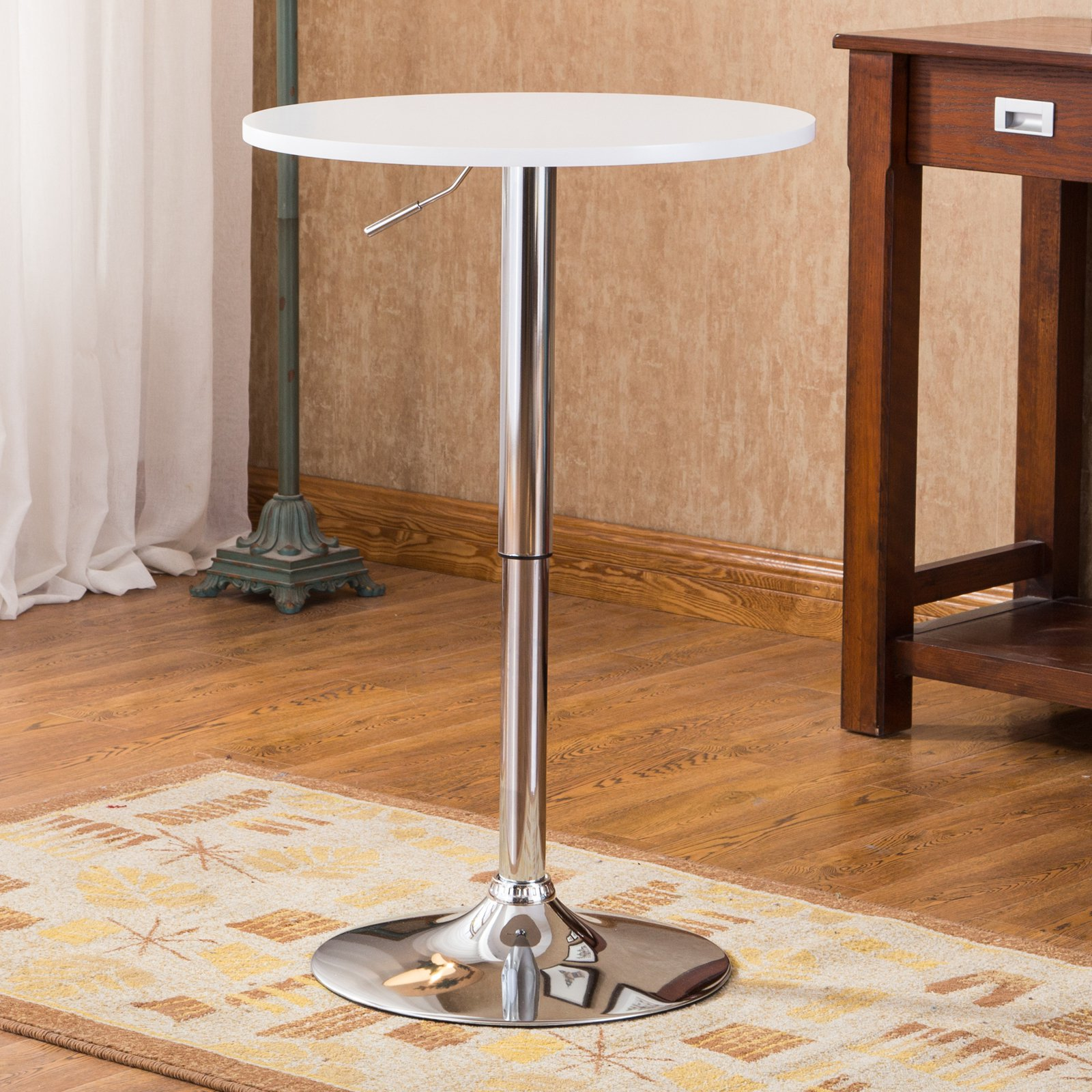 Roundhill Adjustable Height Wood and Chrome Metal Bar Table, Multiple Colors Available