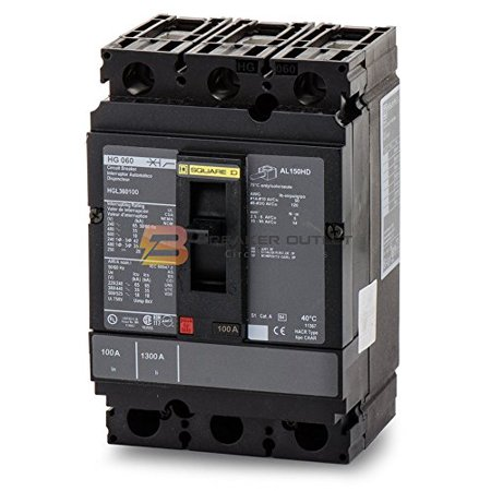 Square D HGL36100 3 Pole 100 Amp 600v 35kA PowerPact Circuit Breaker HG