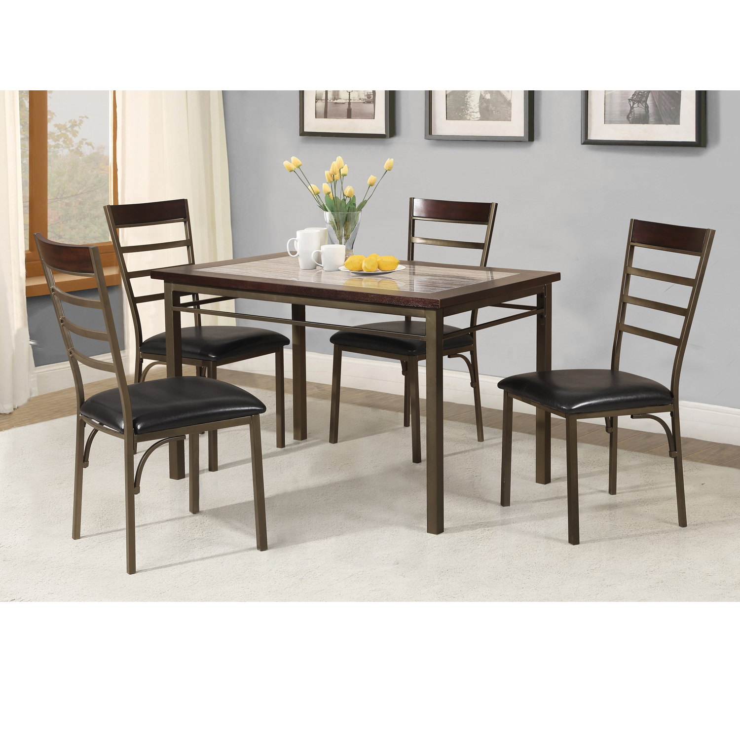 dining table with insert oak home source faux marble insert dining table walmartcom