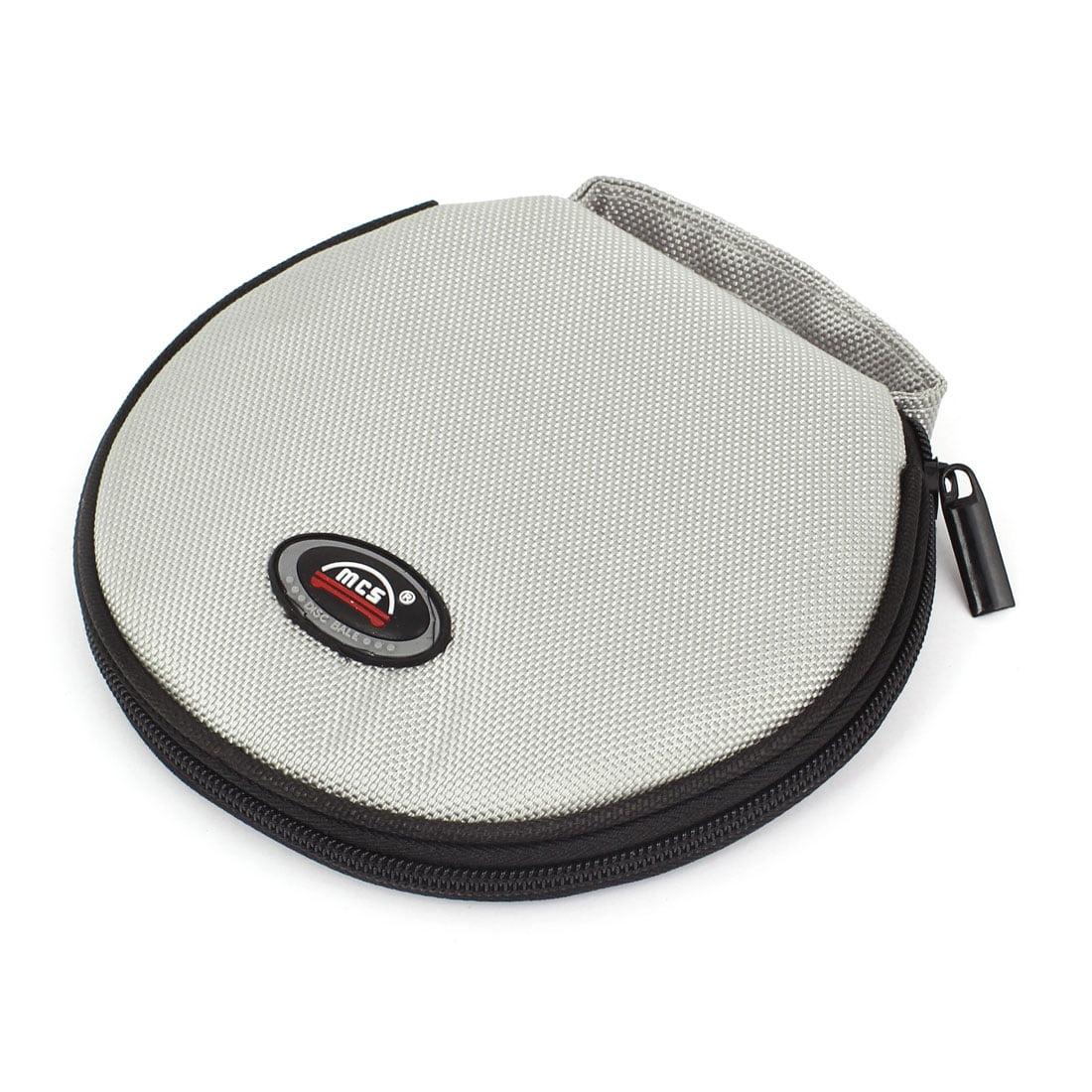 Round Shaped 20 Slots CD Discs Zipper Closure Holder Bag Wallet Gray