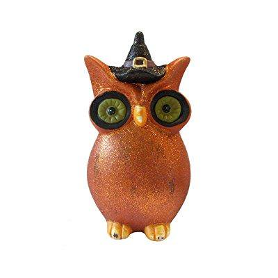 8 orange glittered whimsical owl with witches hat halloween figure