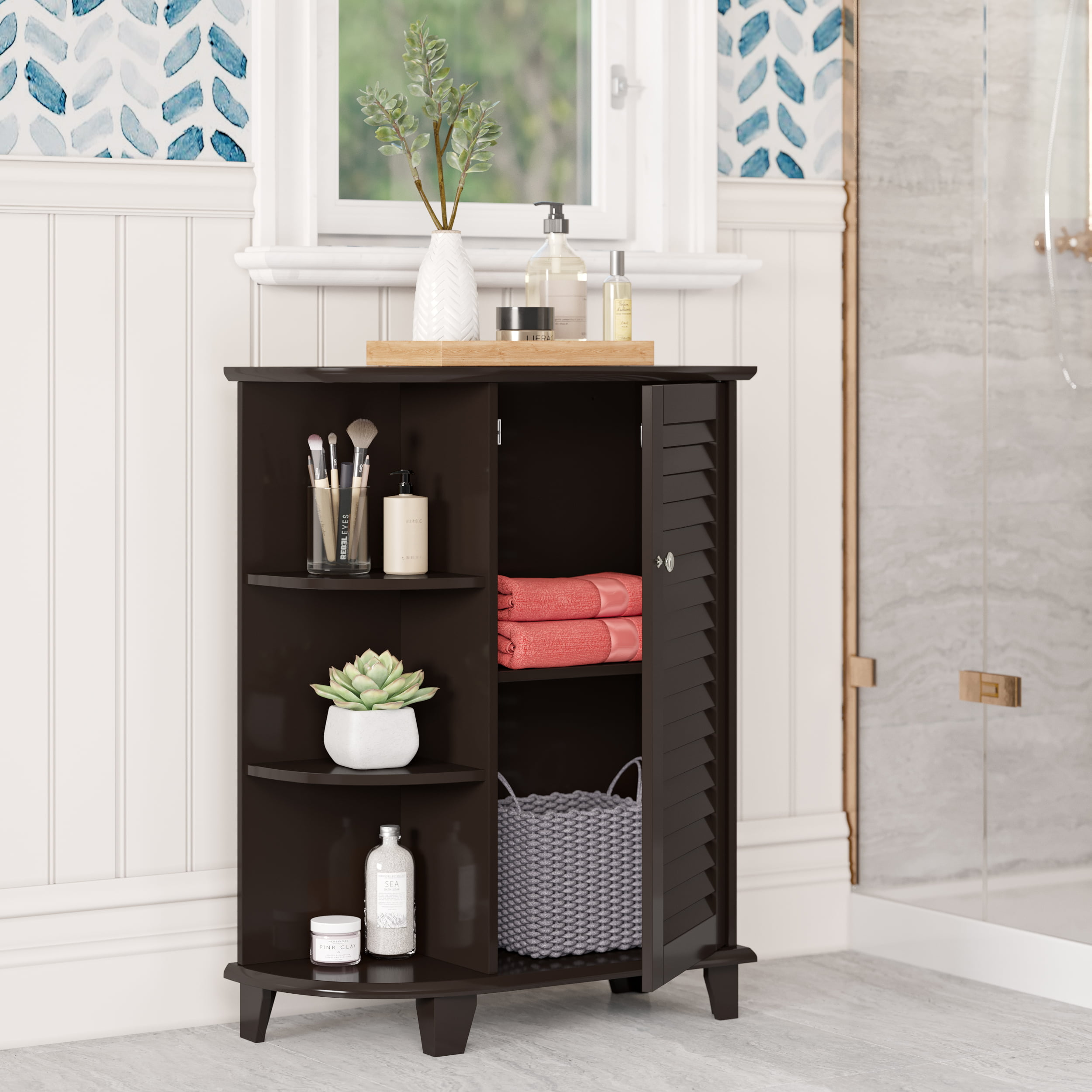 Espresso RiverRidge Ellsworth Collection Floor Cabinet with Side Shelves