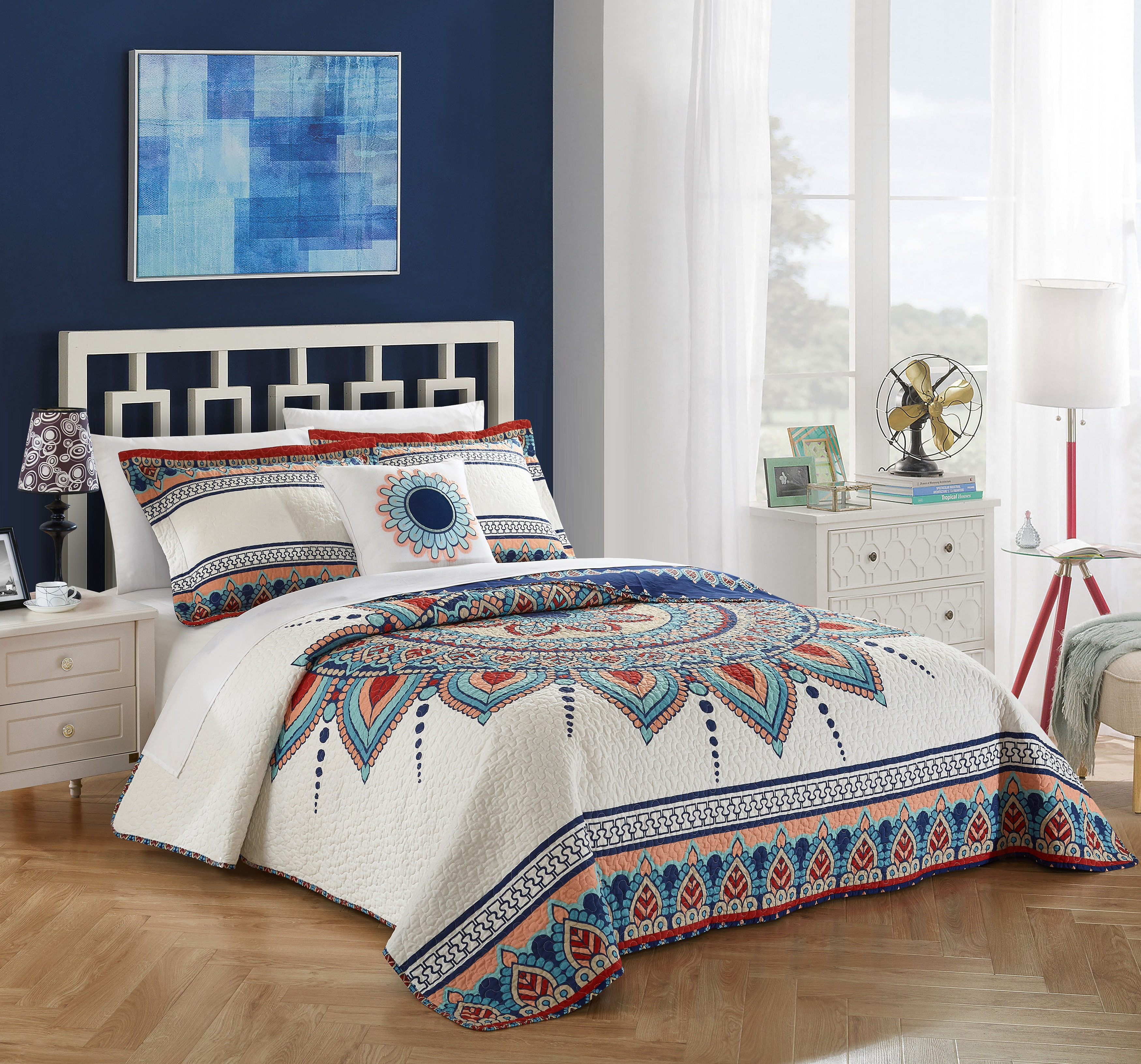 Chic Home 4-Piece Nolina 100% Cotton 200 Thread Count Extra Large Panel Frame Boho Printed REVERSIBLE Quilt Set - Blue