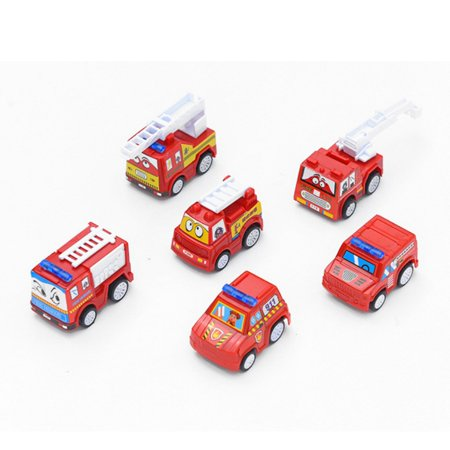 Small Toy Cars (6pcs/set Classic Boy Girl Truck Vehicle Kids Child Toy Mini Small Pull Back Car Toys for Toddler Gift,Fire)