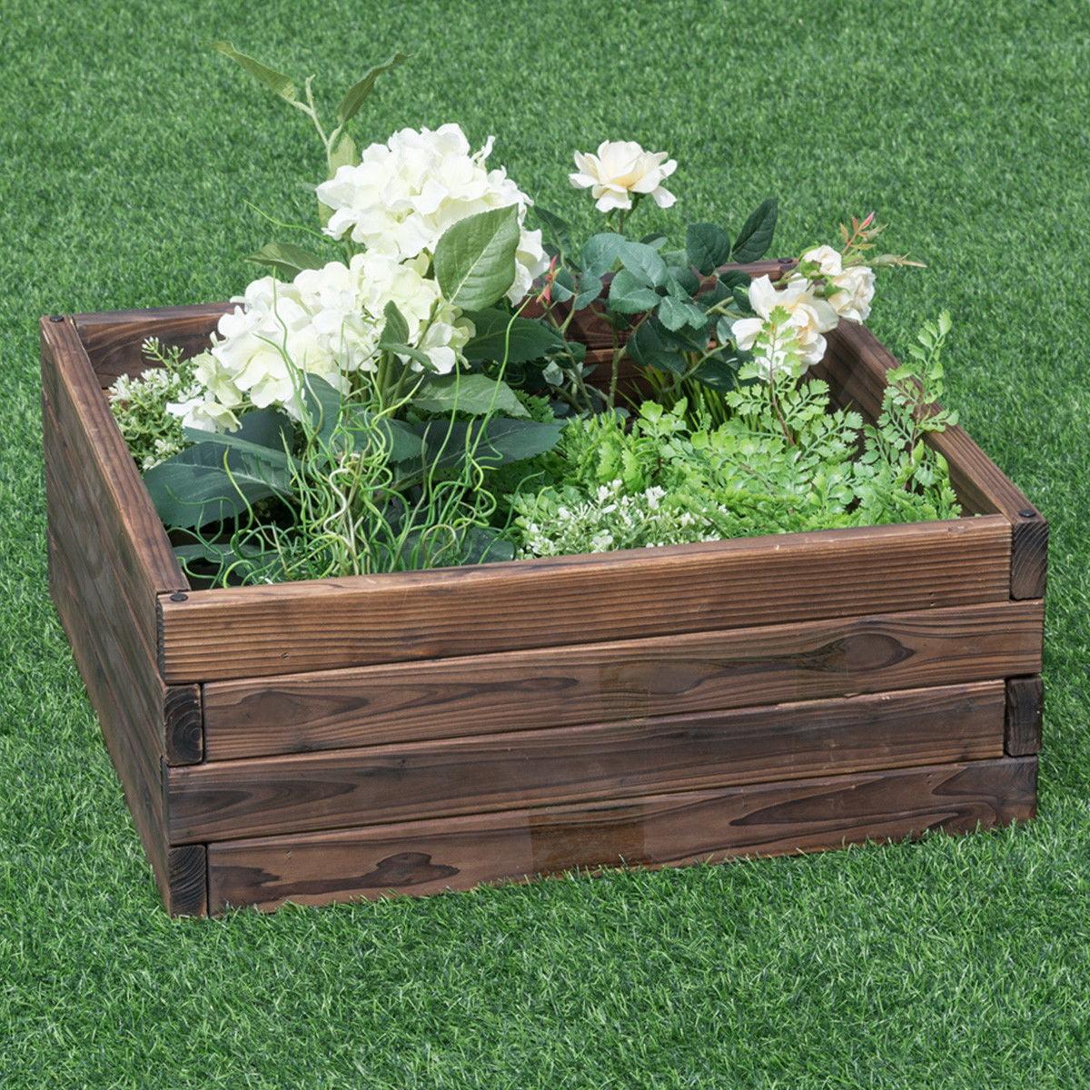 Costway Square Raised Garden Bed Flower Vegetables Seeds