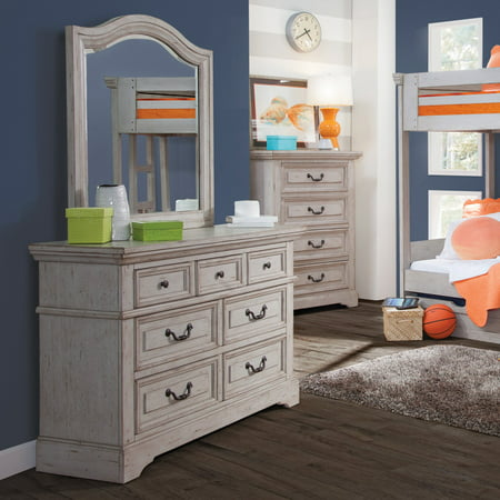 American Woodcrafters Stonebrook 7 Drawer Double Dresser with Optional Mirror - Antique Gray American Antique Dressers