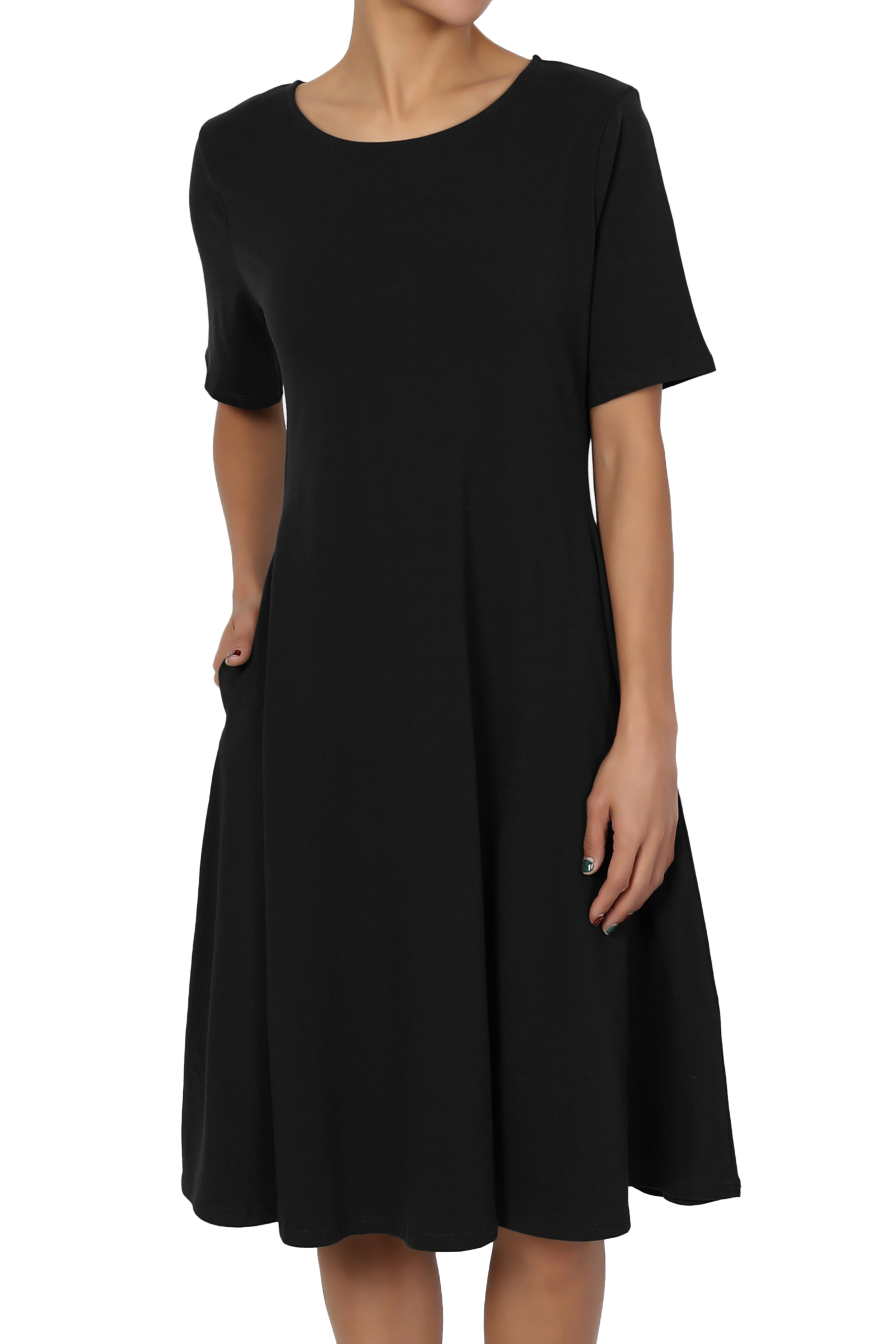TheMogan Women's S~3X Short Sleeve Stretch Cotton Jersey Fit and Flare Dress W Pocket