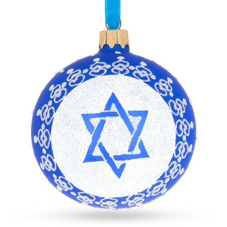 Jewish Glass (Star of David Jewish Glass Ball Ornament 3.25 Inches)