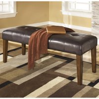 Bowery Hill Upholstered Dining Room Bench in Medium Brown