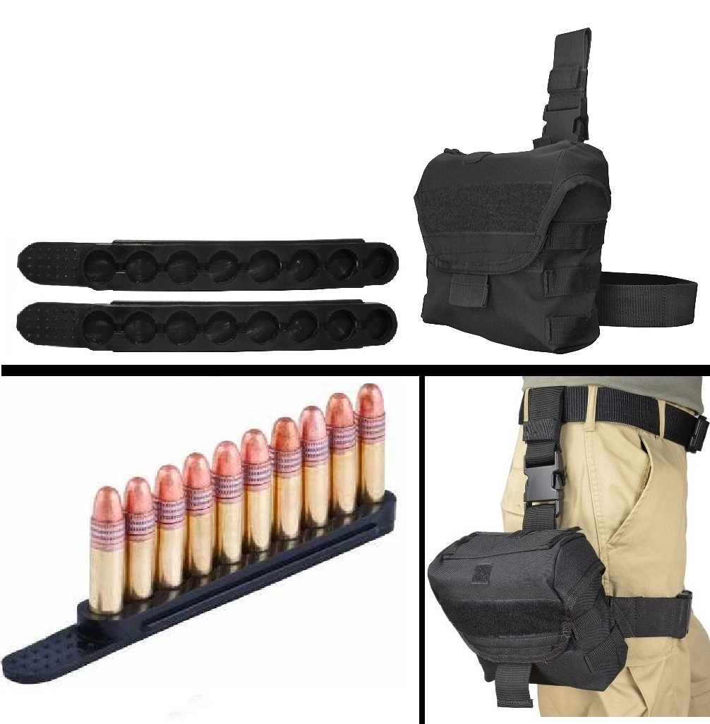 Ultimate Arms Gear .17 HM2 .22LR .22 SHORT 2 Pack QuickStrips 10 Round Quick Speed Easy Loader Stripper Strips Clips + Black Utility MOLLE Dump Ammo Magazine Pouch Drop Leg
