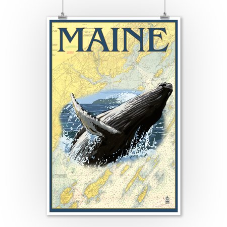 Maine - Humpback Whale and Nautical Chart - Lantern Press Artwork (9x12 Art Print, Wall Decor Travel Poster) ()