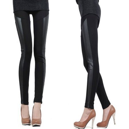 2a9a6a1182596 Womens Elastic High Waist Striped Faux Leather Leggings Side Striped Black  - Walmart.com