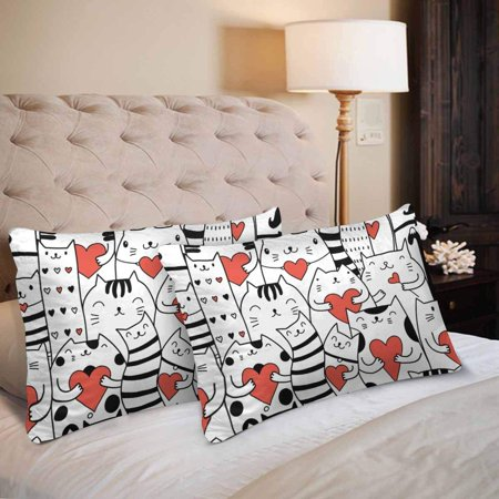 GCKG Funny Cat Hearts Seamless Pattern Pillow Cases Pillowcase 20x30 inches Set of 2 - image 2 of 4