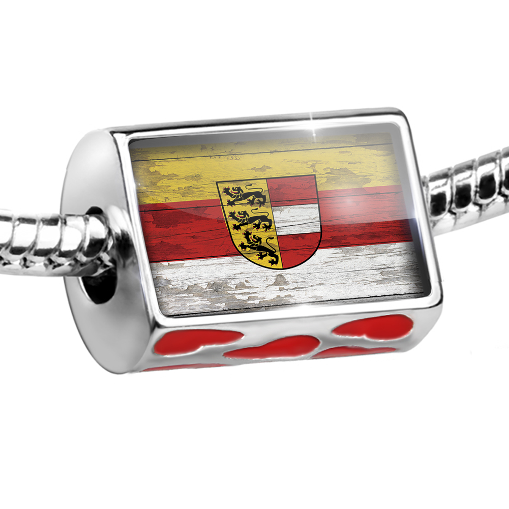 Bead Flag on Wood Carinthia (service) region: Austria Charm Fits All European Bracelets