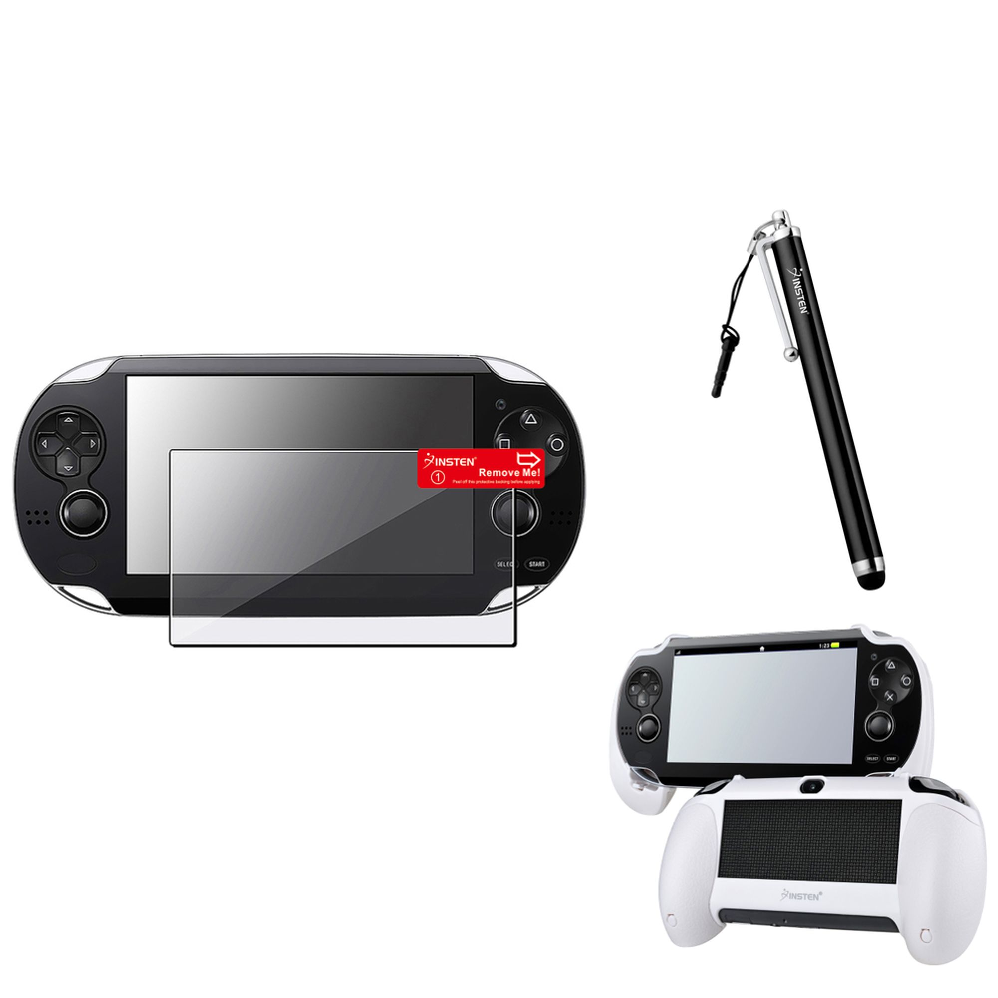 Insten White Hand Grip+Clear Screen Protector+Black Touch Stylus For Sony PS Vita PSV
