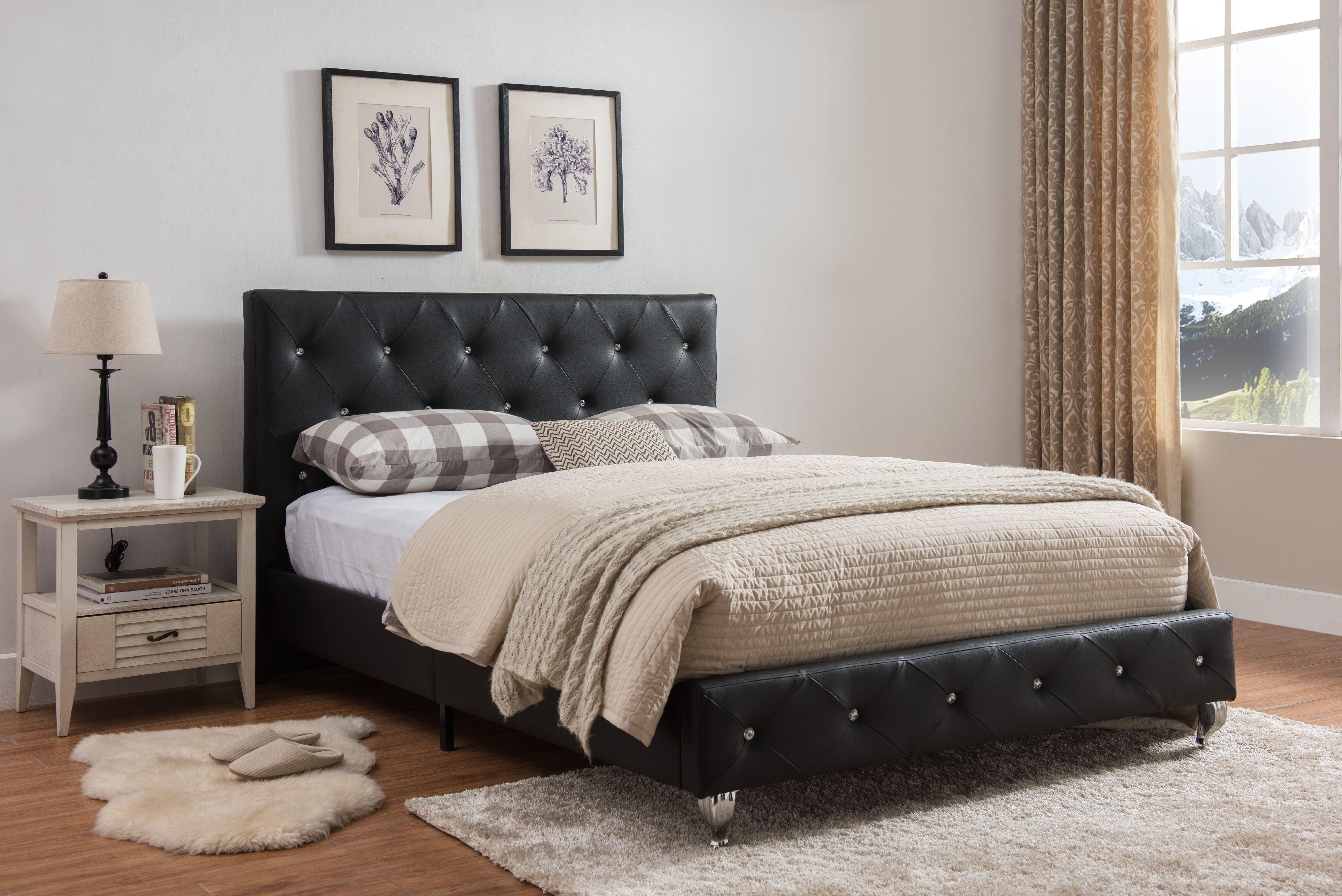 Cora King Size Black Transitional Upholstered Faux Leather Crystal Tufted Platform Slat Bed Headboard Footboard Rails Slats Walmart Com Walmart Com