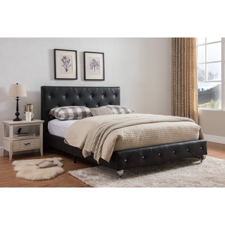 Cora Queen Size Black Transitional Upholstered Faux Leather Crystal Tufted Platform Slat Bed (Headboard, Footboard, Rails,