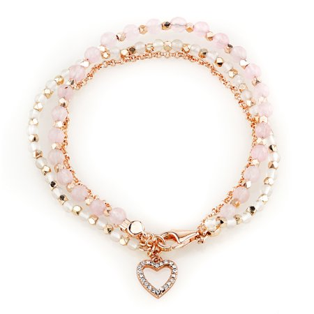 Rose Rose Gold Bracelet (14Kt Rose Gold Flash Plated Rose Quartz Bracelet with Crystal Heart Charm )