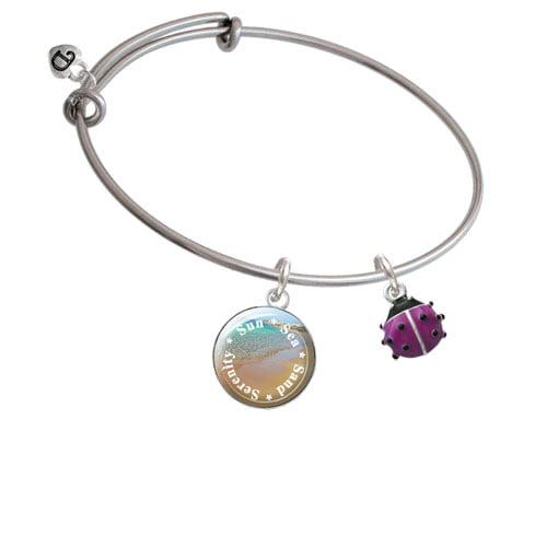 Mini Hot Purple Ladybug Sun Sea Sand Serenity Bangle Bracelet