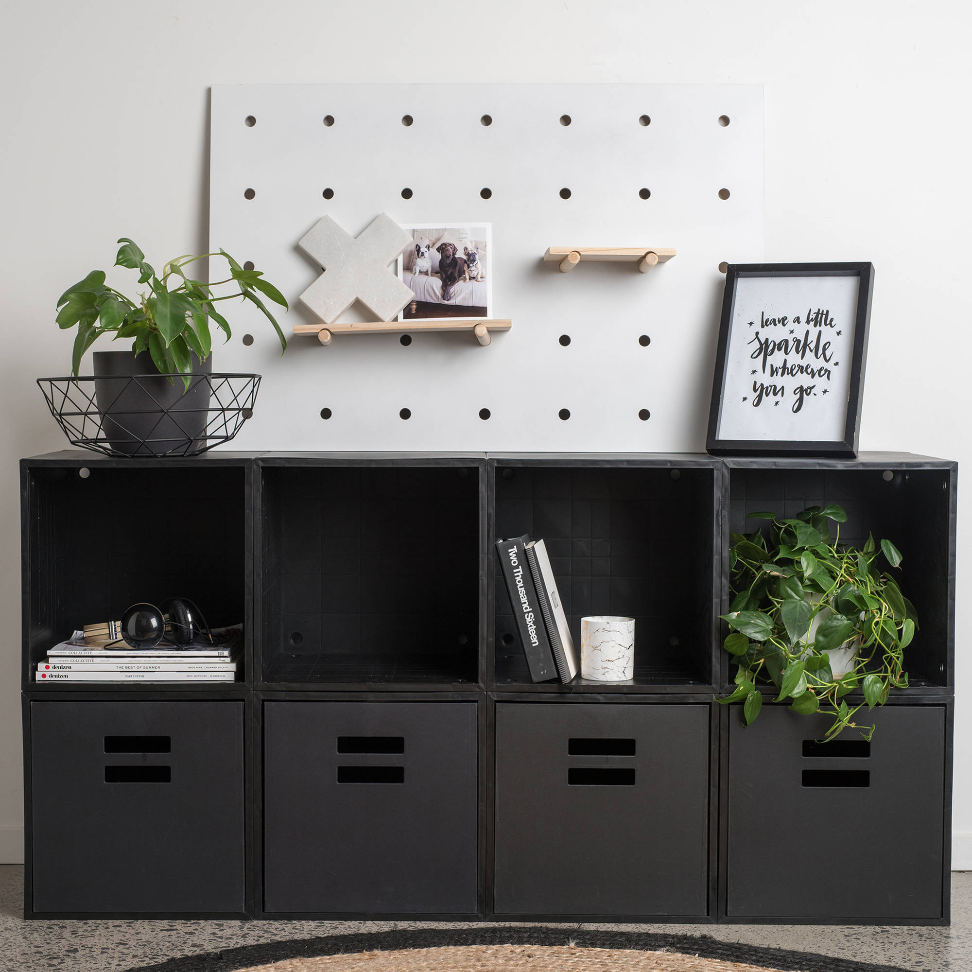 iCube 8-Cube Sideboard Luxe with Drawers, Black