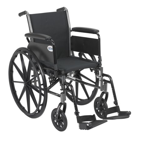 Drive Medical Cruiser III Light Weight Wheelchair with Flip Back Removable Arms, Full Arms, Swing away Footrests, 16