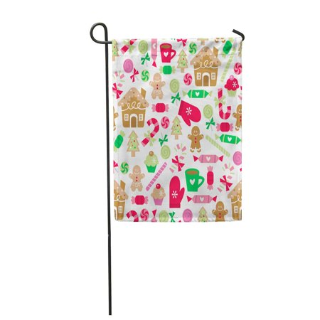 SIDONKU Pattern Whimsical of Christmas Sugar and Spice Sweets Gingerbread Garden Flag Decorative Flag House Banner 12x18 inch](Christmas Bags For Sweets)