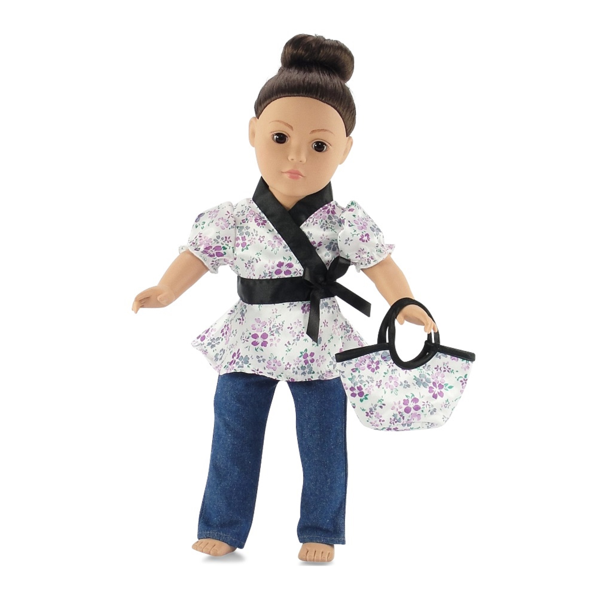 "18 Inch Doll Clothes Fits American Girl - Satin Tunic & Jeans Outfit Includes 18"" Dolls Accessories"