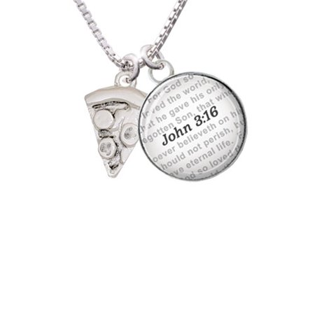 Pizza Slice   Bible Verse John 3 16 Glass Dome Necklace