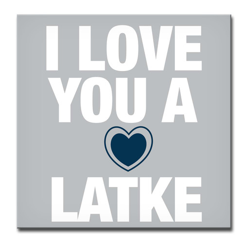Ready2hangart Hanukkah ''I Love You a Latke III'' Textual Art on Wrapped Canvas in Gray