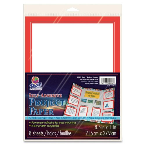 "Pacon Self-adhesive Paper - For Inkjet Print - Letter - 8.50"" X 11"" - 1 / Pack - Red (PAC2006)"