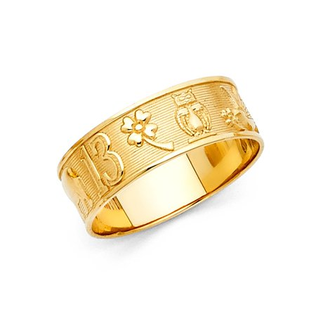 Lucky Charms All-in-One Good Luck Symbols 6mm Band 14k Yellow Italian Solid  Gold Ring Size 9 5 Available All Sizes