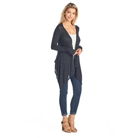 Women's Short Long Sleeve Cardigan With Open Front Made In