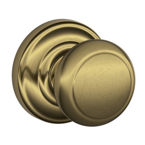Schlage F10-AND-AND Andover Passage Door Knob Set with Decorative Andover Rose f
