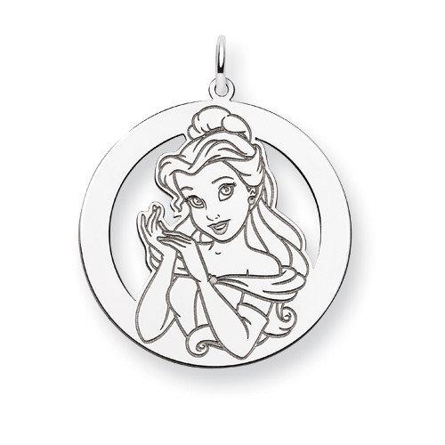 Jewelryweb Sterling Silver Disney Belle Round Charm