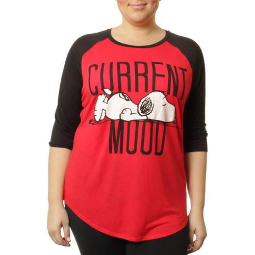 Peanuts Womens Plus Snoopy Drapey Raglan 3/4  Sleeve Tee