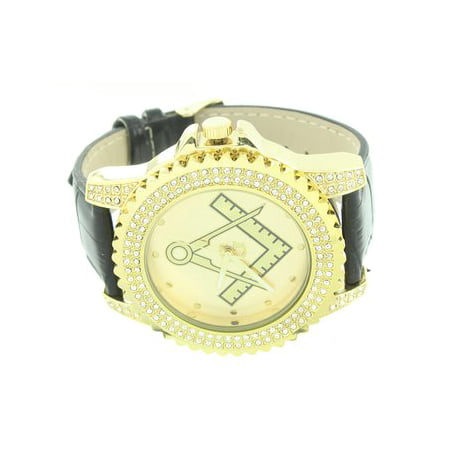 Mens Watch Techno Pave 14k Gold Finish Mason Iced Out Lab Created Cubic Zirconia Leather Band