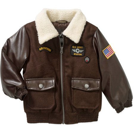 Extreme Outfitters Toddler Boys' Faux Wool Aviator Bomber Jacket ...