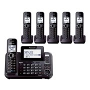 Panasonic KX-TG9542B + (4) KX-TGA950B DECT 6.0 Plus 2-Line Operation Bluetooth Enabled 6 Handset Cordless Phone