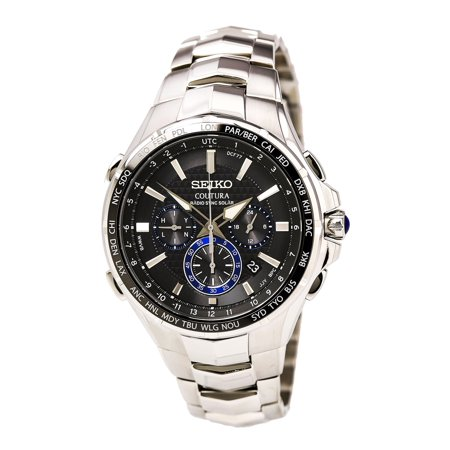 SSG009 Men's Coutura Radio Sync Solar Black Dial Steel Bracelet Chronograph World time Watch