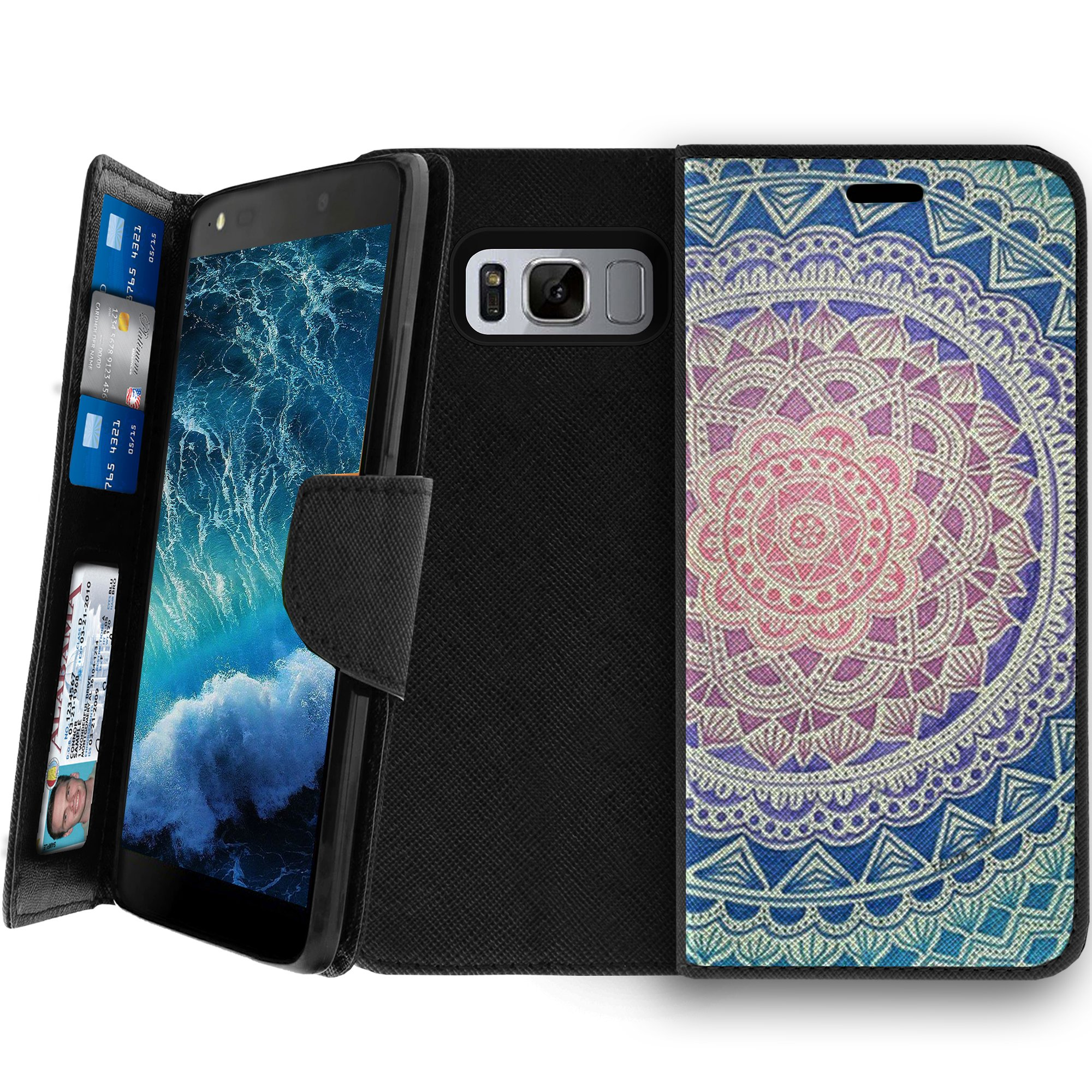Samsung Galaxy S8 Clutch Case, Samsung Galaxy S8 SM-G950 Wallet Clutch Case for Women [CLIP FOLIO] Galaxy S8 Wallet Card & Kickstand Case with Magnetic Snap Folio Case - Pink Purple Mandala
