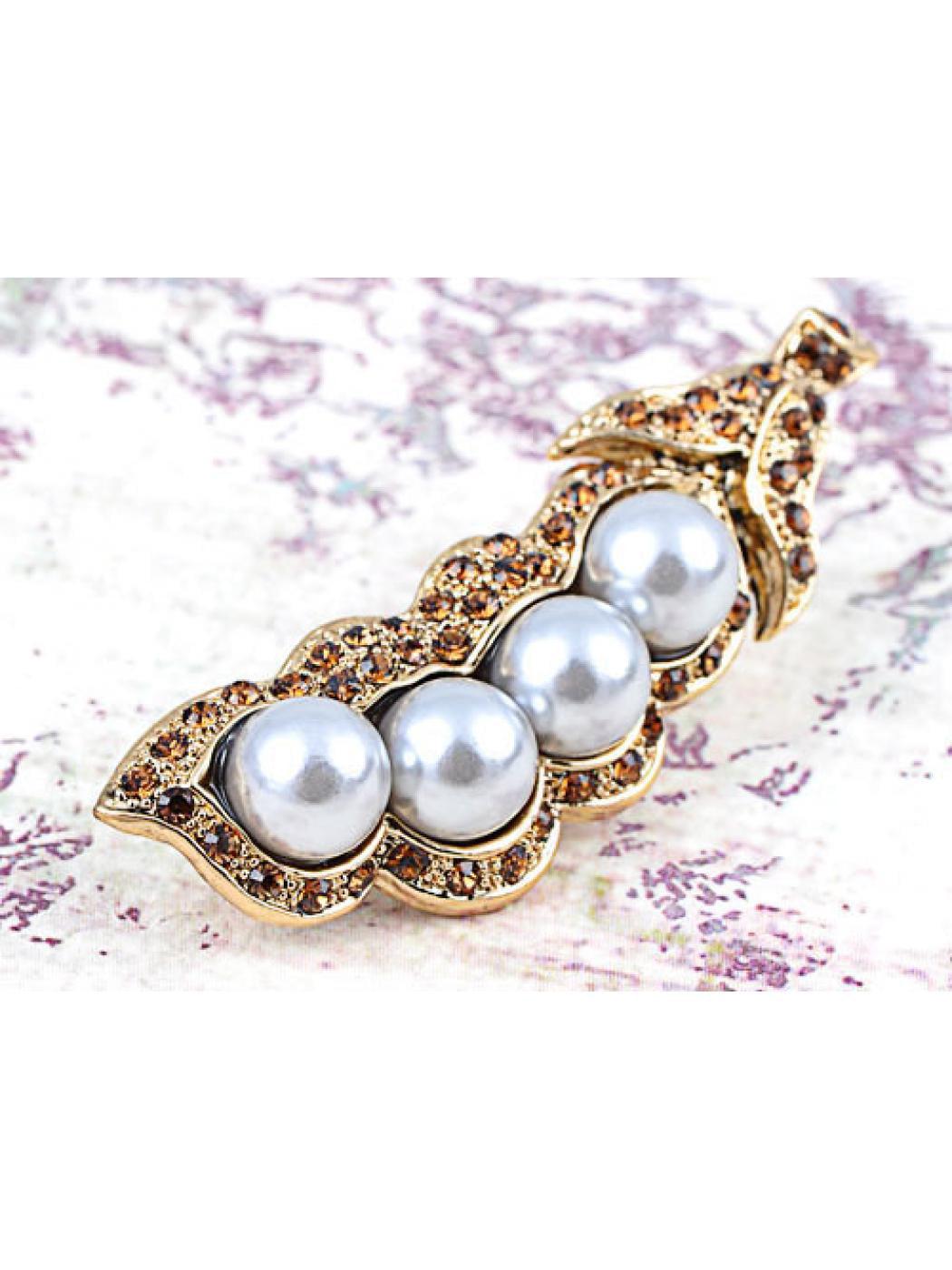 Golden Tone Bronze Topaz Rhinestone Four Faux Pearl Peas in a Pod Fashion Brooch by