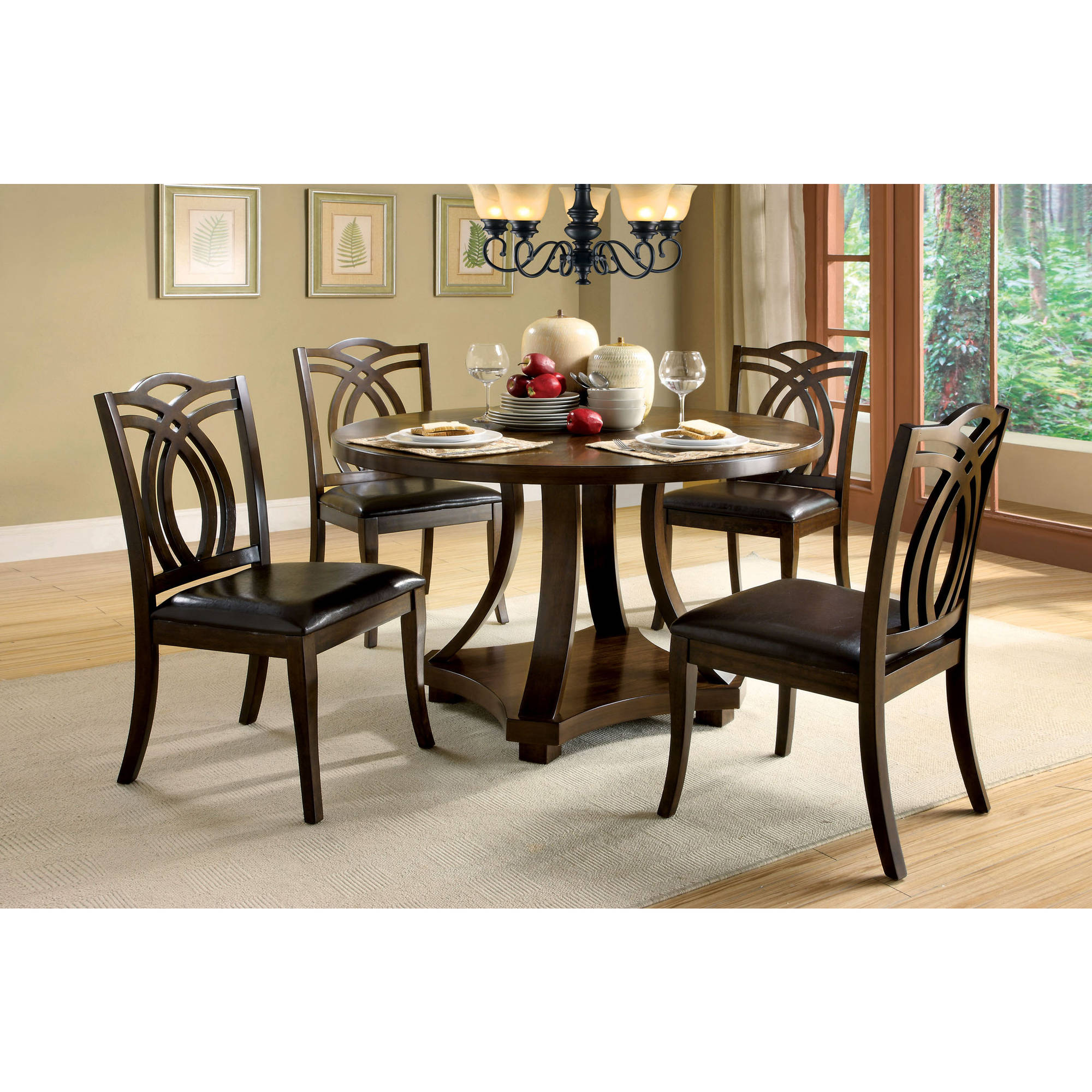 Furniture of America Shice 5-Piece Round Dining Set, Dark Oak