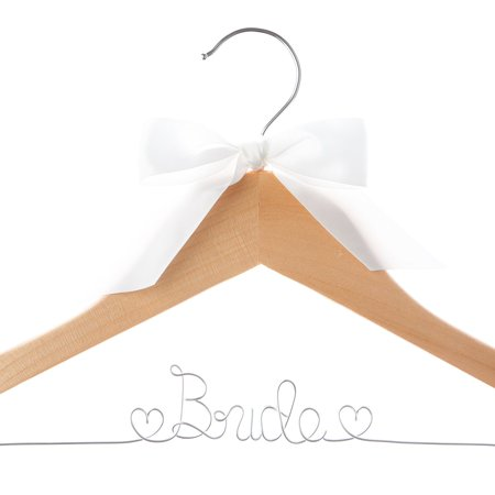 Bride Wedding Dress Hanger Natural Wood, Wooden and Wire Hangers for Dresses (Natural Wood Silver (Sale Wedding Hanger)