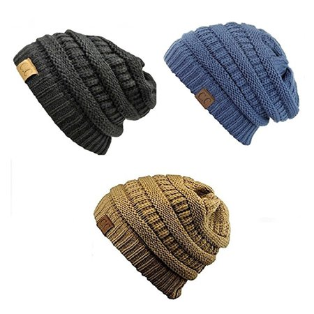 690d9e72 C.C - Trendy Warm Chunky Soft Stretch Cable Knit Slouchy Beanie Skully  HAT20A (One Size, 3 Pack- Black/Denim/Camel) - Walmart.com