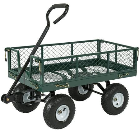 Lawn Garden Wagon - Best Choice Products 400lb Steel Garden Cart w/ Handle
